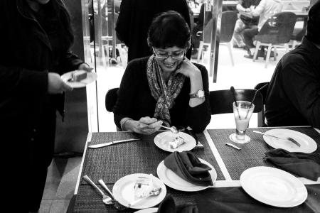 Mother in law, Tettien, enjoying her bite.
