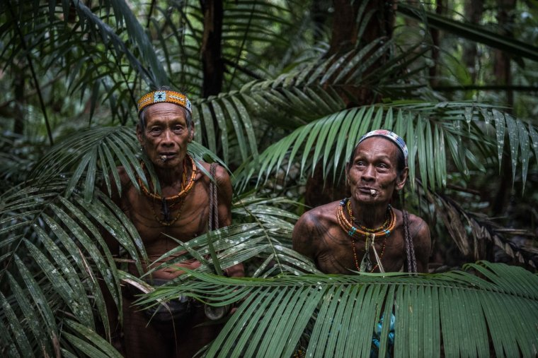 Teu Kapik Sibajak, left, and Aman Aqwi Sakkukuret, members of the Mentawai tribe, on the island of Siberut in Indonesia.